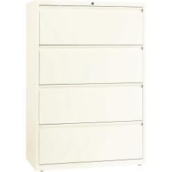 Lorell(R) Fortress Series 36ft.'W 4-Drawer Steel Lateral File Cabinet, Cloud White