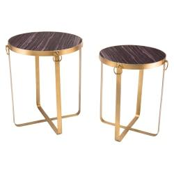 Zuo Modern Onix Side Tables, Round, Purple/Antique Gold, Set Of 2 Tables
