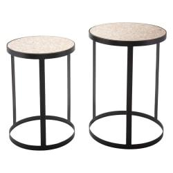 Zuo Modern Antique Tables, Round, Natural/Black, Set Of 2 Tables