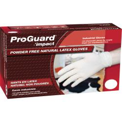 ProGuard Disposable Latex PF General Purpose Gloves - Medium Size - Latex - Natural - Powder-free, Ambidextrous, Beaded Cuff, Disposable, Comfortable - For Cons