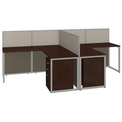 Bush(R) Business Furniture Easy Office 2-Person L Desk Open Office With Two 3-Drawer Mobile Pedestals, 44 7/8in.H x 60 1/25in.W x 119 9/10in.D, Mocha Cherry, St