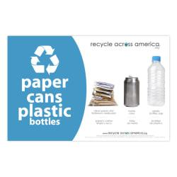 Recycle Across America Paper, Cans And Plastic Standardized Recycling Label, PCP-5585, 5 1/2in. x 8 1/2in., Light Blue