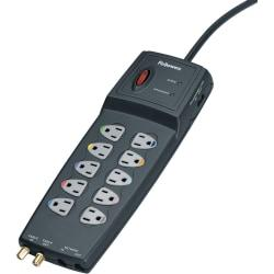 Fellowes 10-outlet surge protector. Ethernet/Network protection. $150,000 warranty