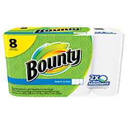 Bounty(R) Select-A-Size 2-Ply Paper Towels, 11in. x 5 9/10in., 63 Sheets Per Roll, Pack Of 8 Rolls
