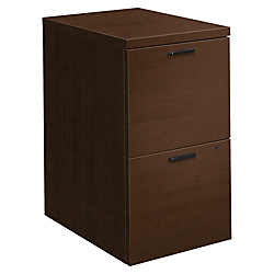 HON 10500 Series Mobile Pedestal - 15.8in. x 22.8in. x 28in. - 2 x File Drawer(s) - Single Pedestal - Square Edge - Finish: Mocha Laminate, Thermofused Laminate