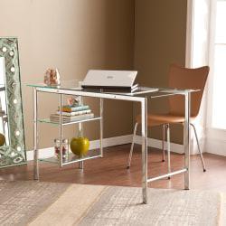Southern Enterprises Oslo Chrome Glass Desk, Chrome/Clear