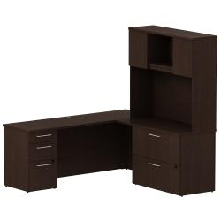 Bush Business Furniture 300 Series L Shaped Desk With 3 Drawer Pedestal And 2 Drawer Lateral File Cabinet With 48in.W Hutch, Mocha Cherry, Standard Delivery