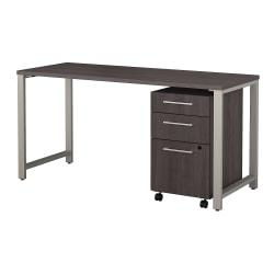 Bush Business Furniture 400 Series Table Desk with 3 Drawer Mobile File Cabinet, 60in.W x 24in.D, Storm Gray, Premium Installation