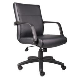Boss Office Products Bonded Leather Executive Mid-Back Chair, 48 1/2in.H x 27in.W x 27in.D, Black