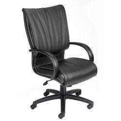 Boss Office Products Bonded Leather Executive High-Back Chair, 47 1/2in.H x 27in.W x 27in.D, Black