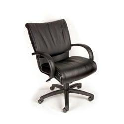 Boss Office Products Bonded Leather Executive Mid-Back Chair, 42 1/2in.H x 27in.W x 27in.D, Black