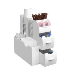 Mind Reader 'Organizer' 10-Compartment Coffee Condiment Organizer, 11in.H x 12 1/16in.W x 5 3/8in.D, White