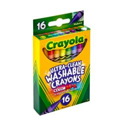 Crayola(R) Washable Crayons, Assorted Colors, Pack Of 16