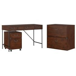 kathy ireland(R) Office by Bush Furniture Ironworks 48in.W Writing Desk, 2 Drawer Mobile Pedestal, And Lateral File Cabinet, Coastal Cherry, Standard Delivery