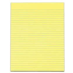 TOPS(TM) The Legal Pad(TM) Glue-Top Writing Pads, 8 1/2in. x 11in., Wide Ruled, 50 Sheets, Canary, Pack Of 12 Pads