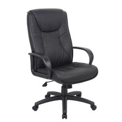 Boss Office Products Chairs@Work Executive Series Vinyl Chair, High-Back, Black