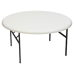 Iceberg Indestruct-Table Too Round Folding Table, 29in.H x 60in.D, Platinum\/Gray