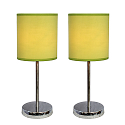 Simple Designs Mini Basic Table Lamps, 11 7/8in.H, Green Shade/Chrome Base, Set Of 2
