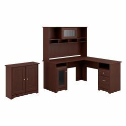 Bush Furniture Cabot L Shaped Desk With Hutch And Small Storage Cabinet With Doors, Harvest Cherry, Standard Delivery