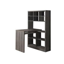 Monarch Specialties Corner Computer Desk With Built-In Shelves, Dark Taupe