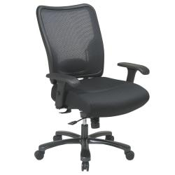 Office Star(R) Big Tall High-Back Chair with Air Grid(R) Mesh Back, 44 1/2in.H x 30 1/4in.W x 28 3/4in.D, Black Frame, Black Fabric