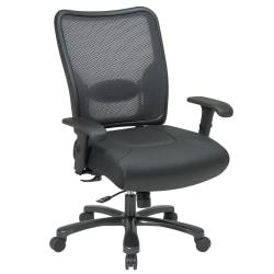 Office Star(R) Big Tall High-Back Chair With Air Grid(R) Mesh Back, 44 1/2in.H x 30 1/4in.W x 28 3/4in.D, Black Frame, Black Leather