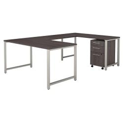 Bush Business Furniture 400 Series U Shaped Table Desk with 3 Drawer Mobile File Cabinet, 60in.W, Storm Gray, Standard Delivery