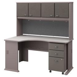 Bush Business Furniture Office Advantage Left Corner Desk With Hutch And Mobile File Cabinet, Pewter/White Spectrum, Premium Installation