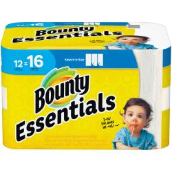 Bounty Essentials 2-Ply Paper Towels, Select-A-Size, 11in. x 5 7/8in., White, 83 Sheets Per Roll, Carton Of 12 Rolls