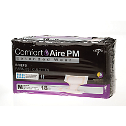 ComfortAire PM Extended Wear Disposable Briefs, Medium, 32 - 44in., Beige, 18 Briefs Per Bag, Case Of 4 Bags