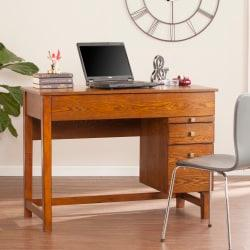 Southern Enterprises Edenton Mid-Century Adjustable-Height Desk, Oak