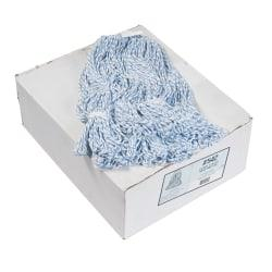Boardwalk(R) Rayon/Polyester Floor Finish Mop Heads, White/Blue, Pack Of 12 Mop Heads