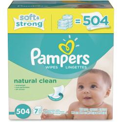 Pampers Natural Clean Unscented Baby Wipes Refill 504ct.