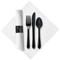CaterWrap Pre-Rolled Cutlery, Silver Swirl Linen-Like Napkin, Black/White, Case Of 100 Rolls
