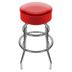 Trademark Global High-Grade Padded Bar Stool, Red/Chrome