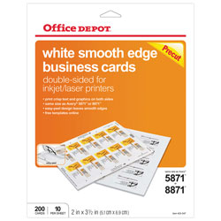 Office depot brand double sided business cards 2 x 3 12 white pack office depot brand double sided business reheart Images