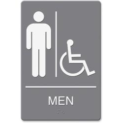Headline U.S. Stamp Sign Men/Wheelchair Image Indoor Sign - 1 Each - men's restroom/wheelchair accessible Print/Message - 6in. Width x 9in. Height - Rectangular