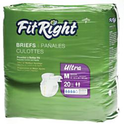 FitRight Ultra Briefs, Medium, 32 - 42in., White, 20 Briefs Per Bag, Case Of 4 Bags