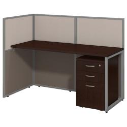 "Bush Business Furniture Easy Office Straight Desk Open Office With 3-Drawer Mobile Pedestal, Fully Assembled, 44 15/16""H x 60 1/16""W x 30 9/16&rdquo"