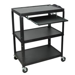 Luxor X-Large Audiovisual Utility Cart, With Laptop Shelf, 42in.H x 32in.W x 20in.D, Black