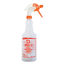 Big 3 Packaging PAK-IT Spray Bottle, Citrus All-Purpose Cleaner, 32 Oz, Orange/Clear
