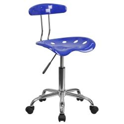 Flash Furniture Vibrant Low-Back Task Chair With Tractor Seat, Nautical Blue/Chrome