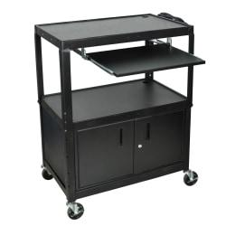 Luxor X-Large Audiovisual Utility Cart, With Laptop Shelf And Cabinet, 42in.H x 32in.W x 20in.D, Black