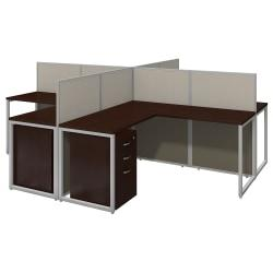Bush Business Furniture Easy Office 60in.W 4-Person L-Desk Open Office With Four 3-Drawer Mobile Pedestals, 44 15/16in.H x 119 1/8in.W x 119 1/8in.D, Mocha Cher