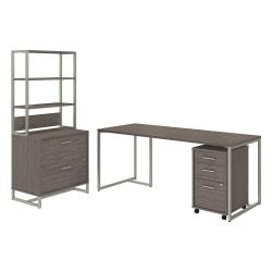 kathy ireland(R) Office by Bush Business Furniture Method Table Desk with File Cabinets and Hutch, 72in.W, Cocoa, Premium Installation