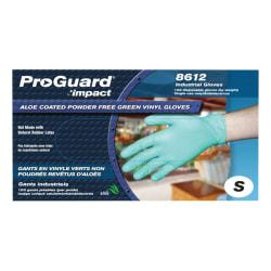 ProGuard Plus Aloe Coated Disposable Vinyl Powder Free General Purpose Gloves - Small Size - Vinyl - Green - Powder-free, Disposable, Beaded Cuff, Ambidextrous,