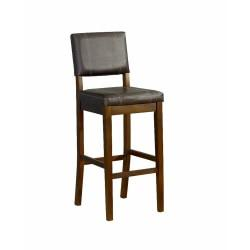 Linon Home Decor Products Milano Stool, Counter 24in., Medium Dark Walnut/Dark Brown Vinyl