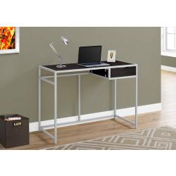 Monarch Specialties Metal Computer Desk With Drawer, Cappuccino/Silver