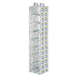 Honey-Can-Do 8-Shelf Hanging Vertical Closet Organizer, 54in.H x 12in.W x 12in.D, Blue/Brown/Green