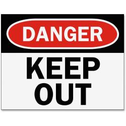 Tarifold Safety Sign Inserts-Danger Keep Out - 6 / Pack - Danger Keep Out Print/Message - Black, White Print/Message Color - Easy Installation, Tear Resistant,